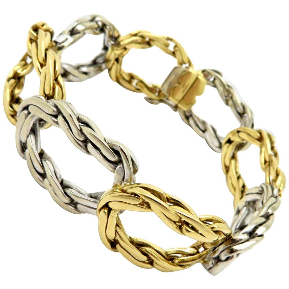 Cartier London Two-Tone 18K Gold Twisted Oval Link #23045 Men's Bracelet