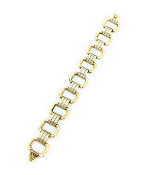 14K Yellow Gold Rectangular Link Bracelet