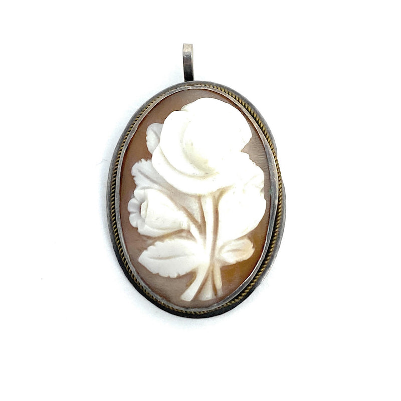 Antique Sterling Silver blooming Rose Cameo Pendant