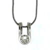 18K White Gold 0.50ctw Bezel Set Diamond Solitaire Pendant Necklace