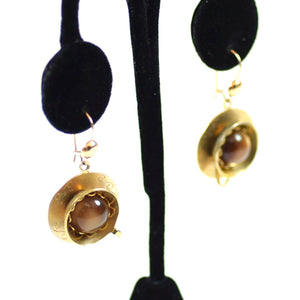 Costume Gold Tone White and Amber Crystal Earrings, 3 Pairs, Teacup and Saucer