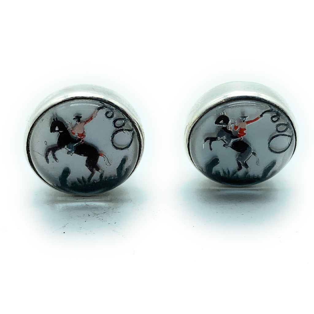 Vintage Reverse Glass Dome Painted Cowboy Horse Roper Crystal Sterling Cuff Links