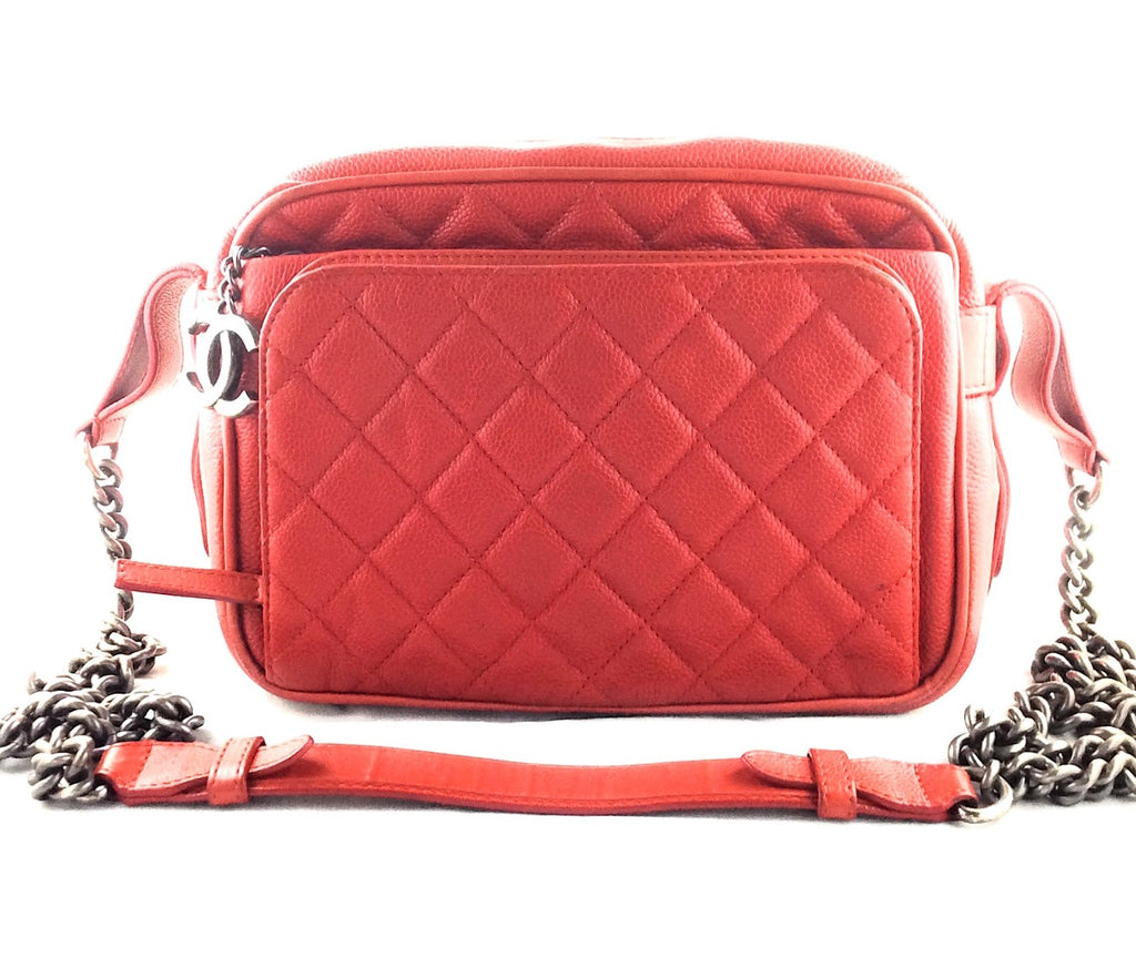 Chanel Red Quilted Caviar Business Trip Medium Camera Bag
