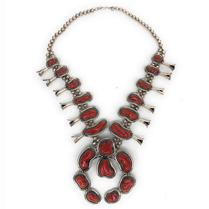Vintage Native American Sterling Silver & Oxblood Coral Squash Blossom Necklace