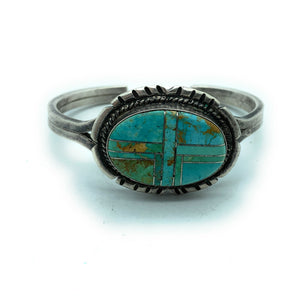 Vintage 1950's Zuni Sterling Silver & Turquoise Inlay Cuff Bracelet