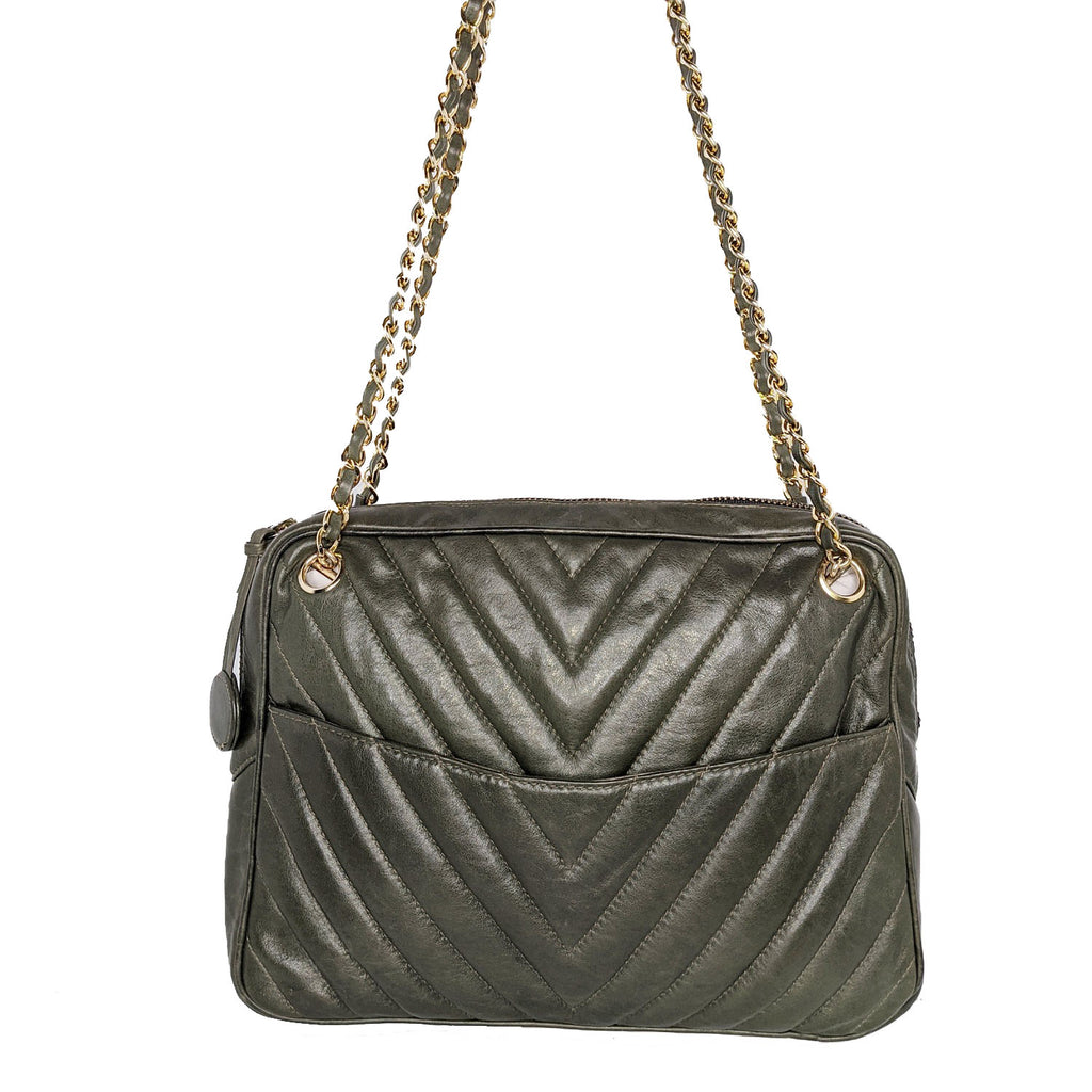 Chanel 1980's Vintage Chevron Shoulder Camera Bag
