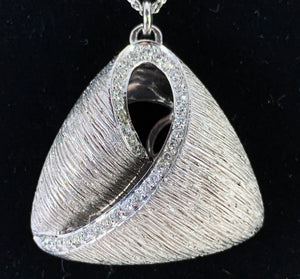 Stunning Diamond Triangle Puff Bark Finish Pendant on 18K White Gold Chain
