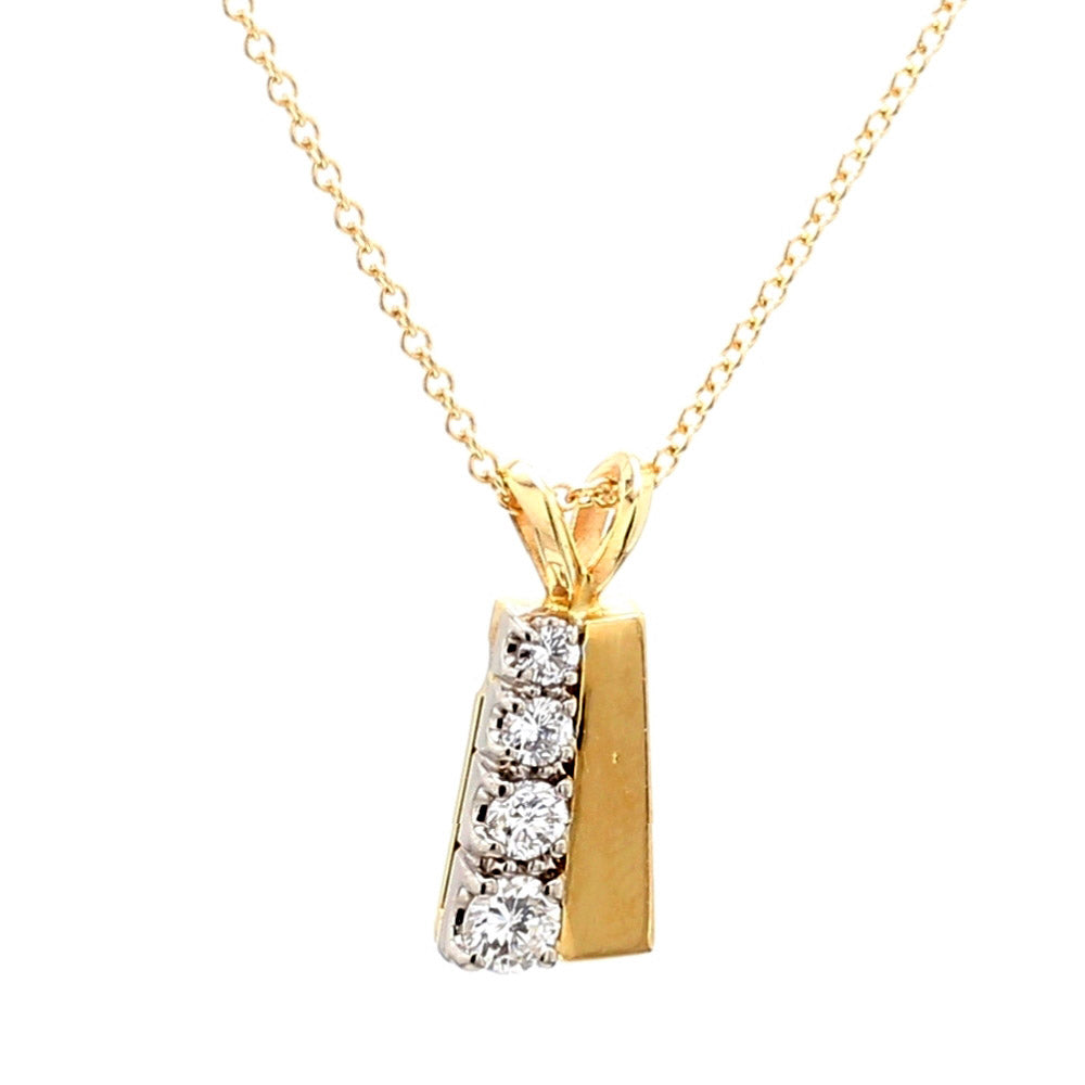 14K Yellow Gold 0.17ctw Diamond Pendant Necklace