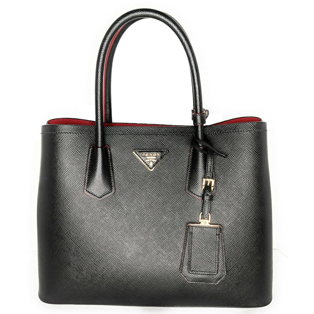 Prada Saffiano Cuir Double Medium Tote Bag, Black/Red