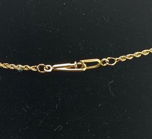Gorgeous 14K Gold and Round Brilliant & Baguette Diamond Pendant Twisted Rope Necklace