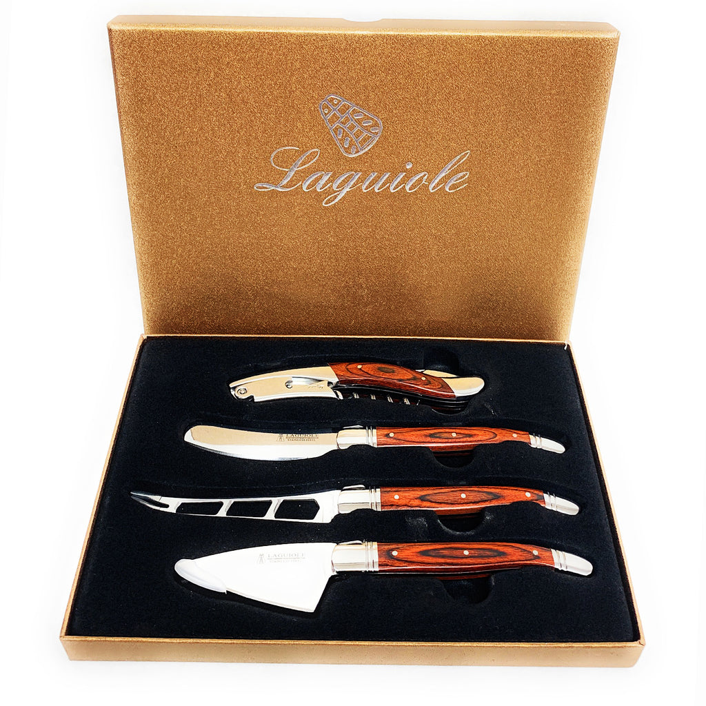 Laguiole 4 Piece Wine and Cheese Set Forged Steel Blades Pakka Wood Handles NIB