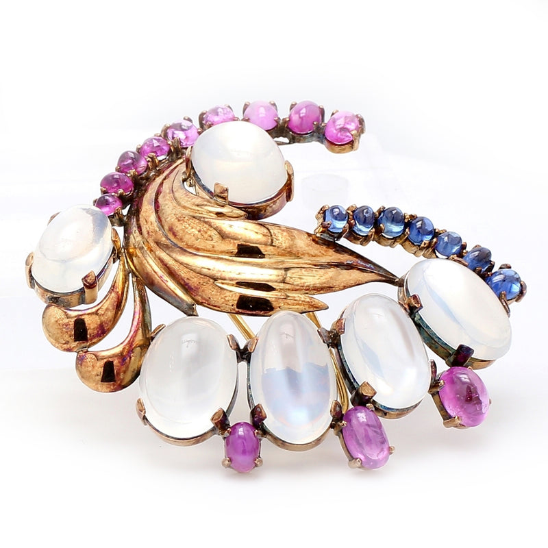 Fabulous 1940's Retro 18K Yellow Gold Moonstone, Ruby, & Sapphire Brooch