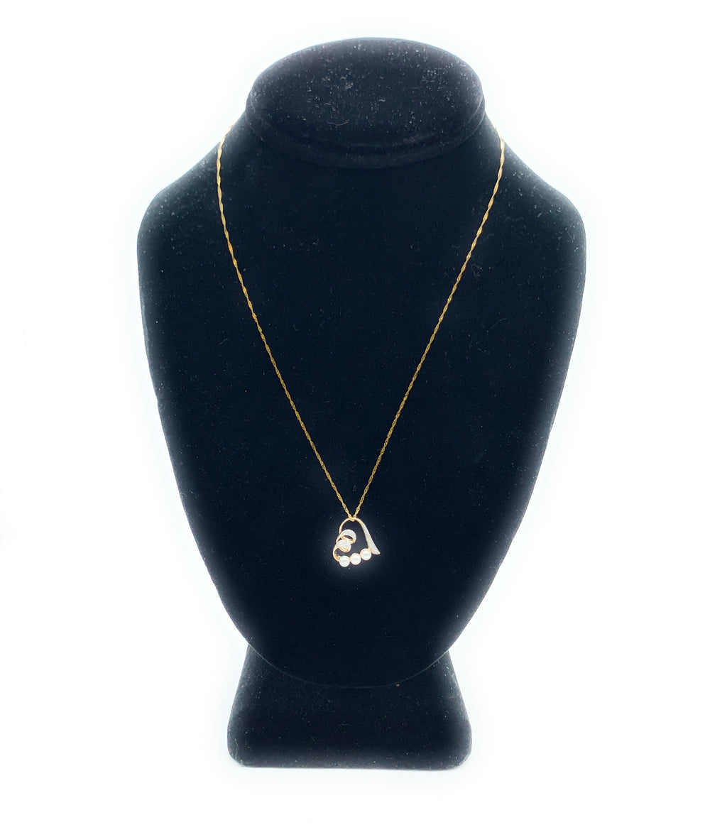 14K Yellow Gold, Pearl & Diamond Heart Pendant Necklace