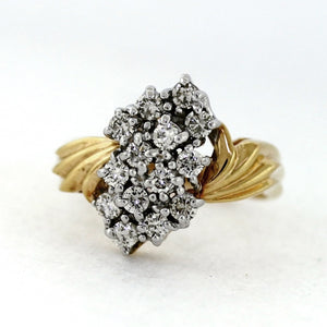 Vintage 14K Yellow Gold 0.80ctw Diamond Cluster Ring - Sz. 7