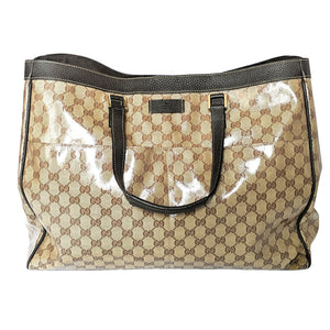 Gucci Brown Leather & GG Crystal Weekend Large Tote