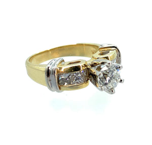 14K 2-Tone Gold 1.45ctw Diamond Engagement Ring - Sz. 4.75
