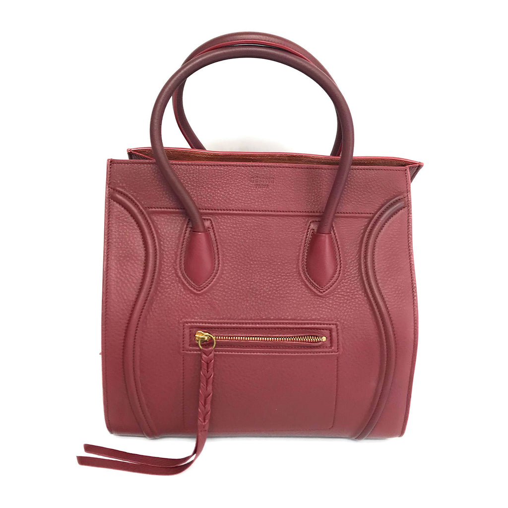 Celine Phantom Luggage Medium Bag Calfskin Leather Burgundy Shopping Tote