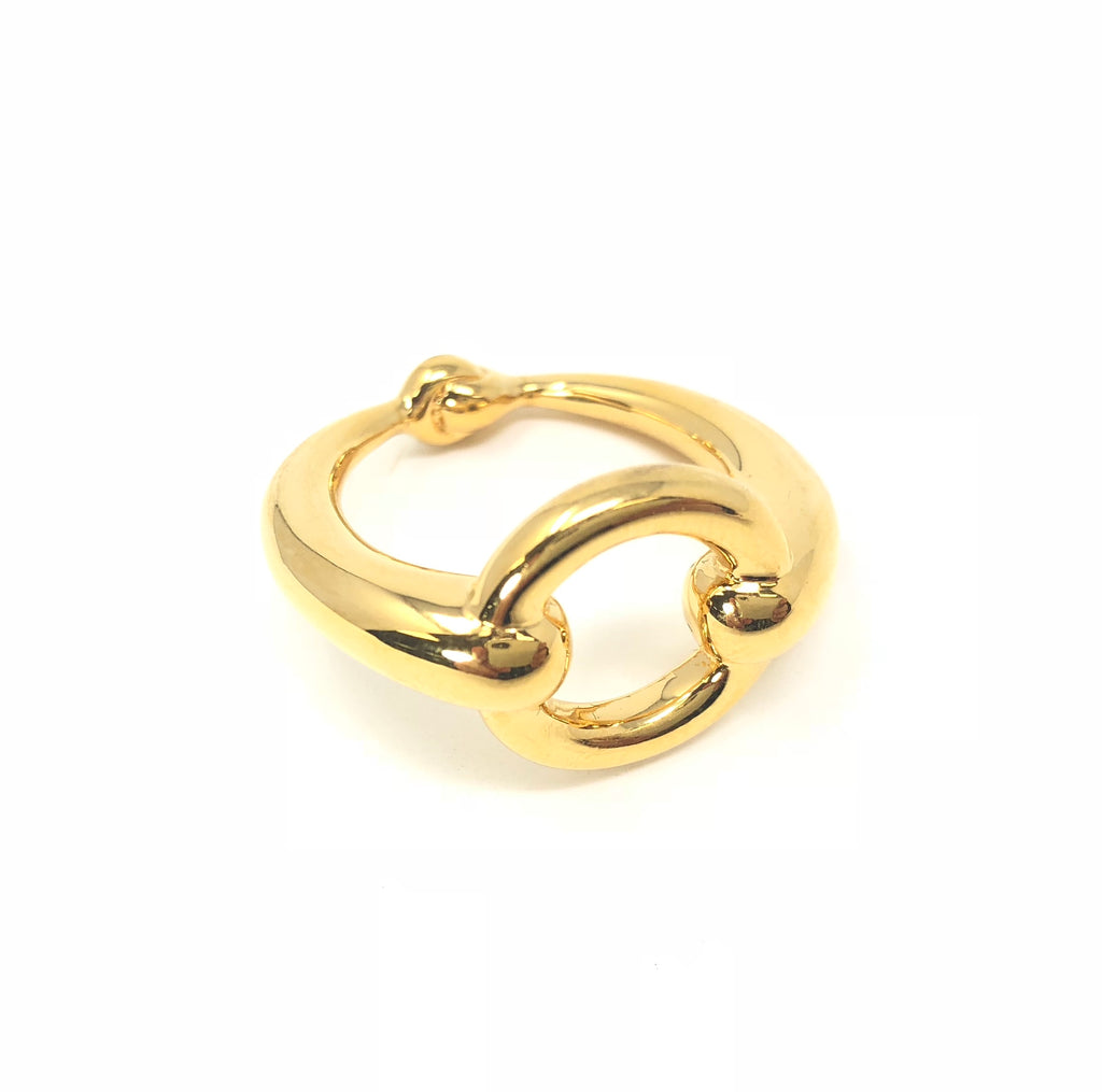 Hermes Paris Gold Tone Scarf Ring