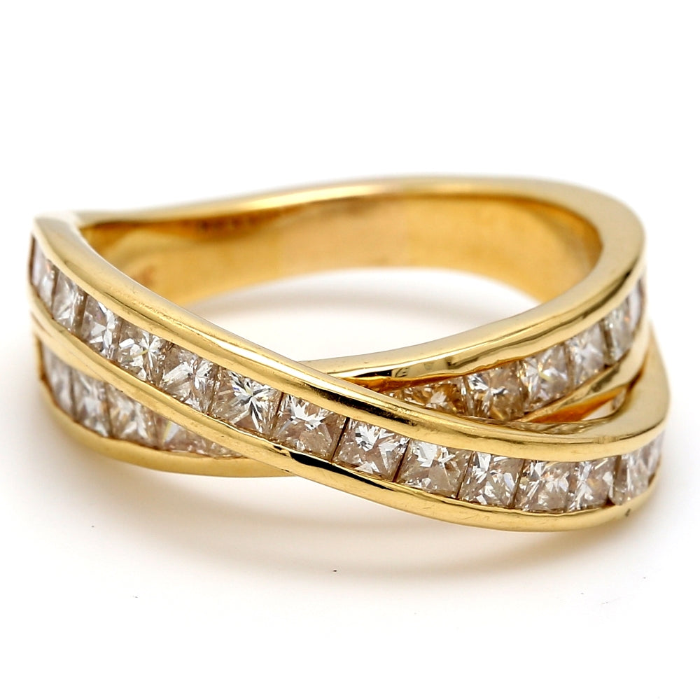 18K Yellow Gold 2.45ctw Diamond Crossover Ring - Sz. 7.75