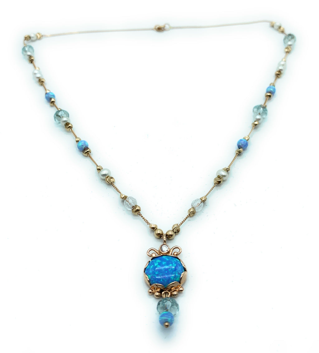 14K Rose Gold Opal, Pearl, Aquamarine, CZ, & Gold Nugget Drop Necklace
