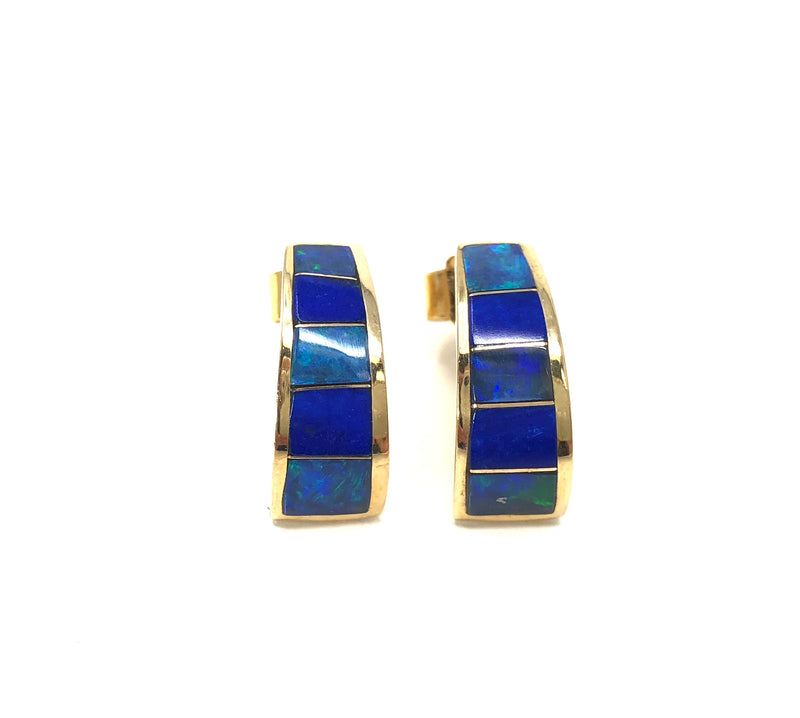 Estate 14K Yellow Gold Opal & Lapis Lazuli Earrings