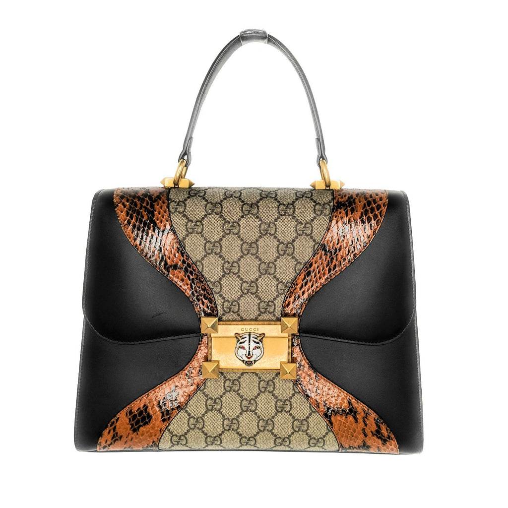 Gucci Osiride Leather Snakeskin GG Medium Top Handle Bag