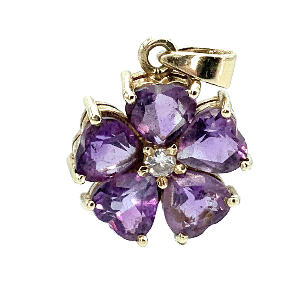 14K Yellow Gold Amethyst Flower Cluster Pendant with Diamond