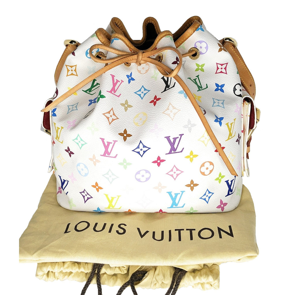 Louis Vuitton Petit Noe White Monogram Multicolor Drawstring Bag