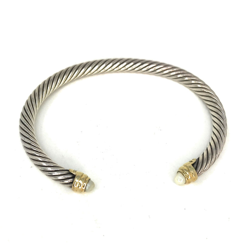 David Yurman Stainless Steel Cable Bracelet 2 Tone Silver & 18KT Yellow Gold