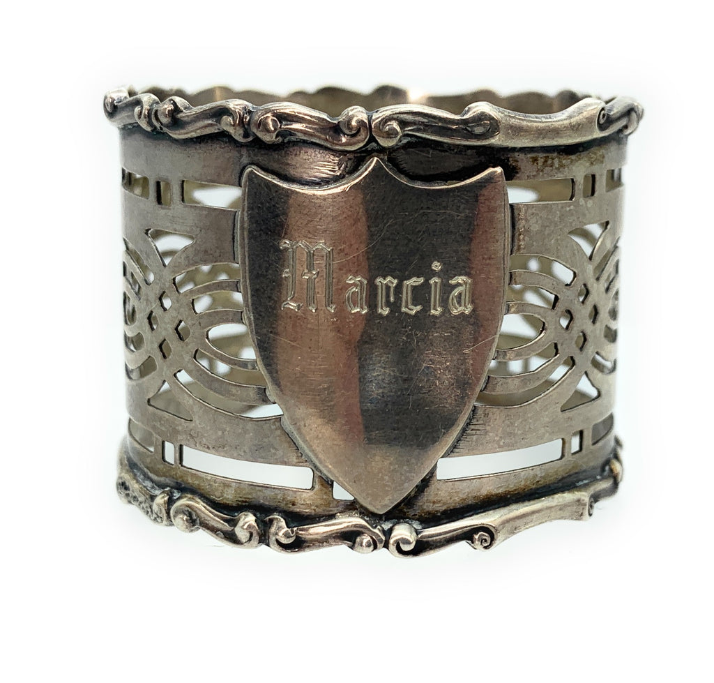 Vintage Sterling Silver Engraved Napkin Ring, Pierced Lattice Motif