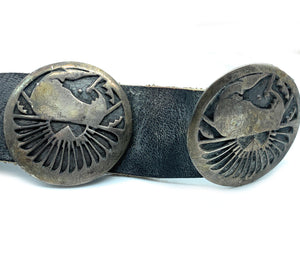 Vintage Old Pawn Hopi Sterling Silver Inlay Concho Belt