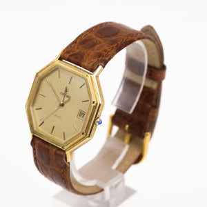 Tiffany & Co Vintage Concord Unisex Watch 18K Yellow Gold Octagonal with Leather Strap
