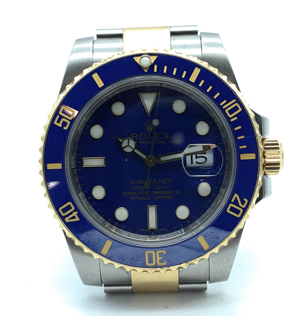 ROLEX 18K & Stainless Steel Submariner Blue Dial - 116613 Mens Watch