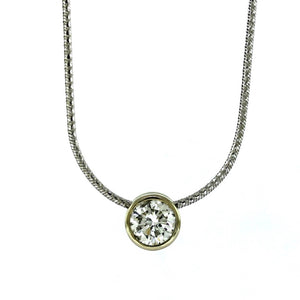 14K White Gold Bezel Set 0.84ctw Diamond Solitaire Pendant Necklace