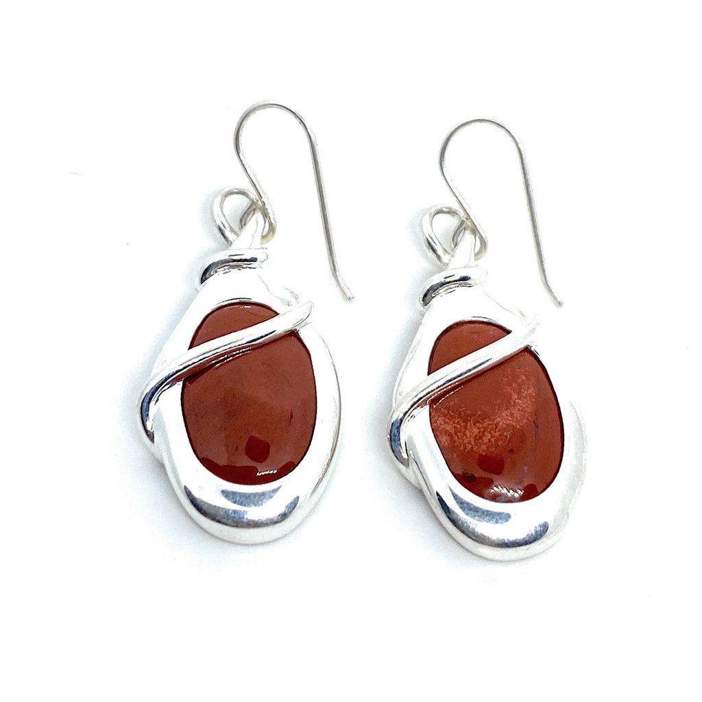 Native American Sterling Silver Carnelian Agate Drop Dangle Earrings