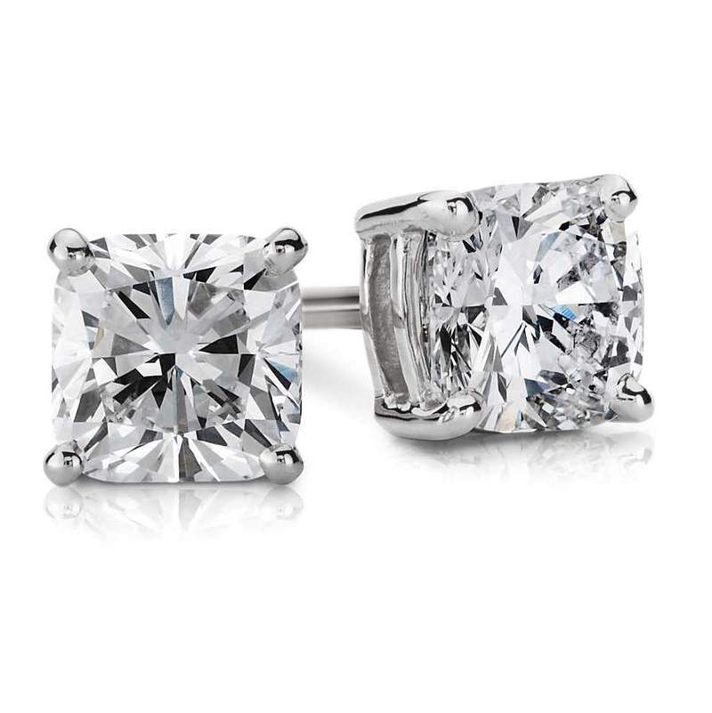 4.21CTW J I1 CUSHION CUT, DIAMOND STUD EARRINGS