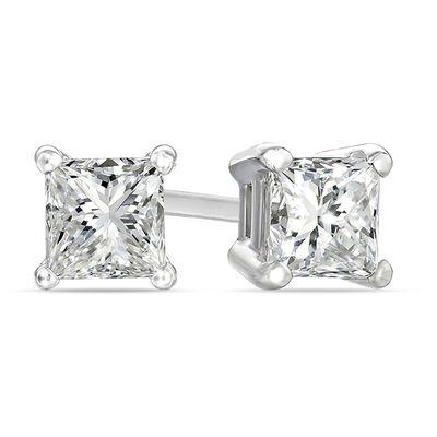 2.01CTW H I1 PRINCESS CUT, DIAMOND STUD EARRINGS