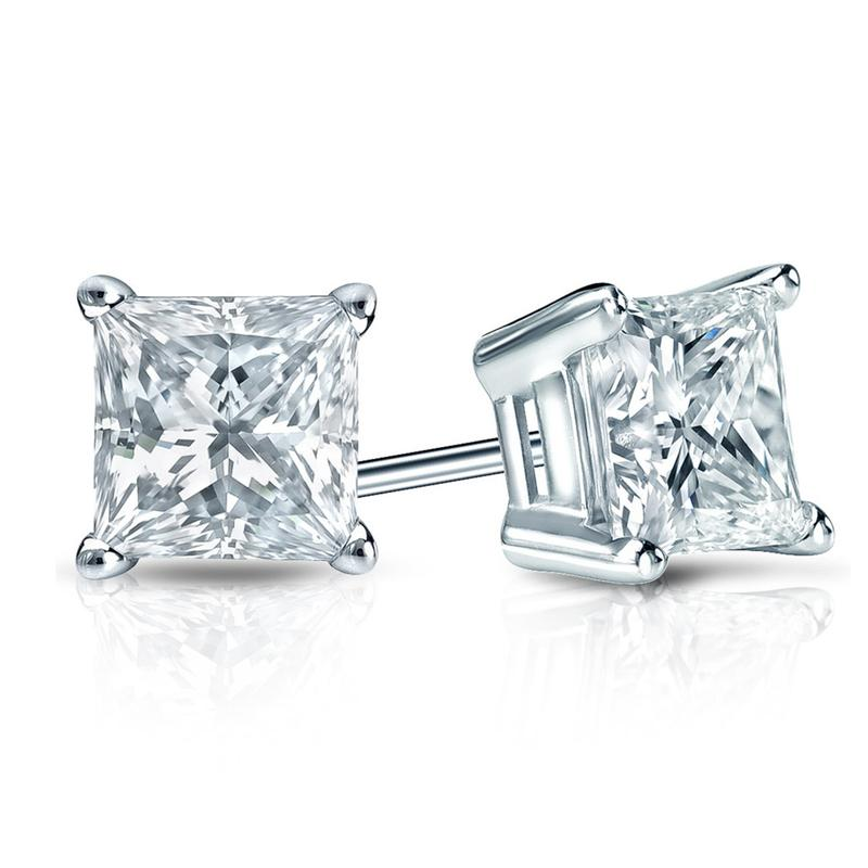 1.02CTW I VS2 PRINCESS CUT, DIAMOND STUD EARRINGS