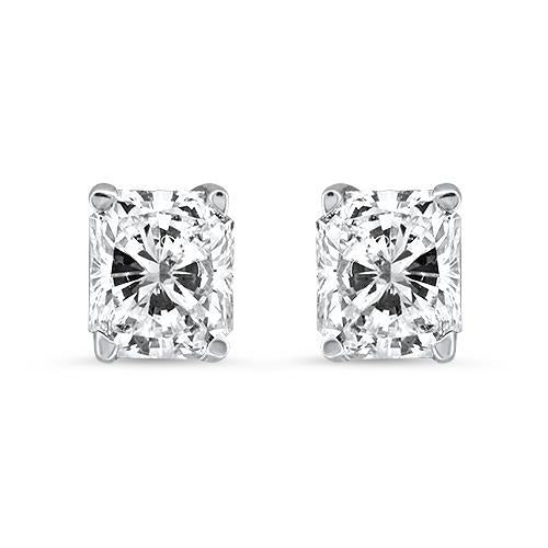 1.63CTW G/H SI1 RADIANT CUT, DIAMOND STUD EARRINGS