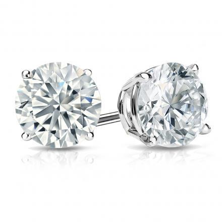2.40CTW H VS2 ROUND BRILLIANT CUT, DIAMOND STUD EARRINGS