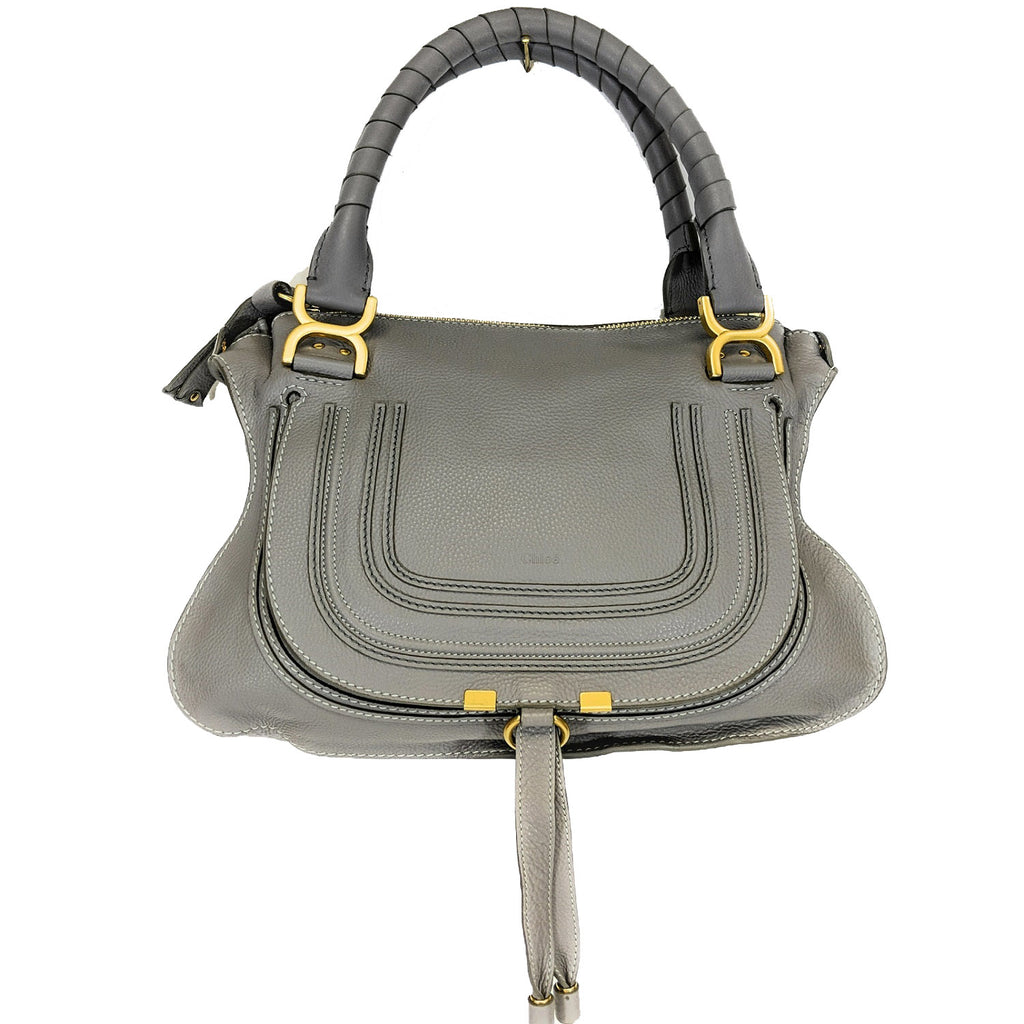 Chloe Cashmere Grey Medium Marcie Leather Satchel