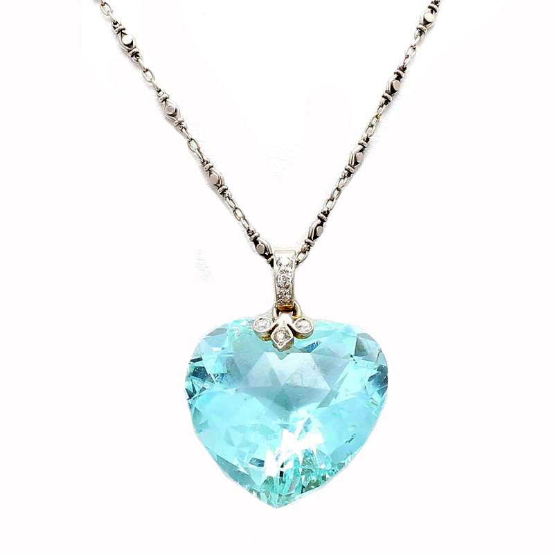 Bailey Banks & Biddle Platinum & 18K WG 32.00ct Aquamarine Heart Pendant Necklace
