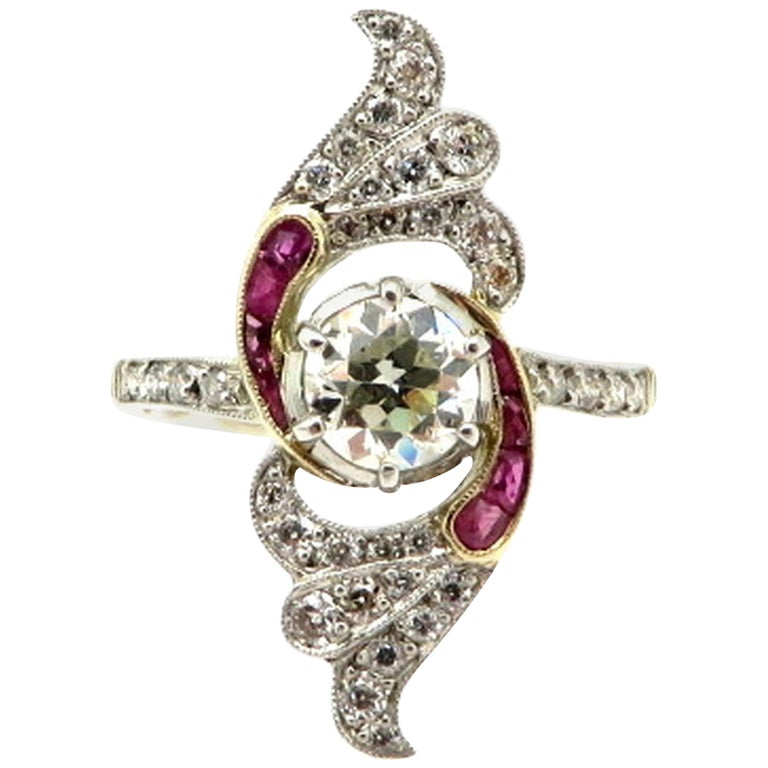 18 K Yellow Gold & Platinum Art Deco Style Ruby and Old European Cut Ring, Size 6.5