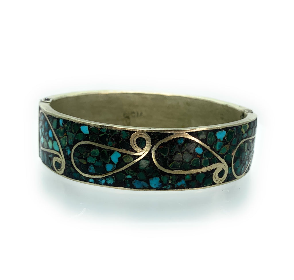 Vintage Indian Sterling Silver & Turquoise Micro Inlay Hinged Bangle Bracelet