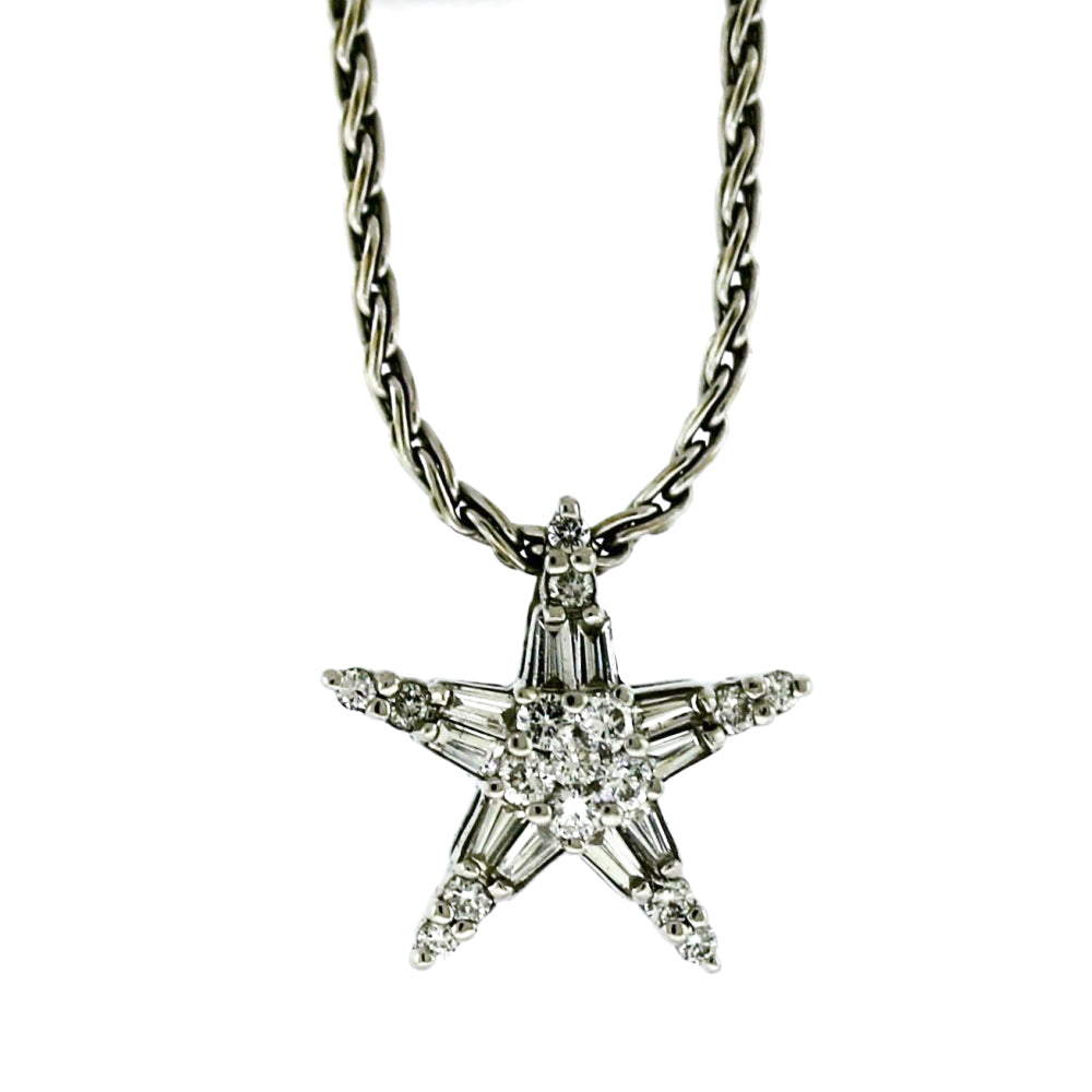 14K White Gold 0.90ctw Diamond Star Pendant Necklace
