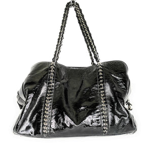 Chanel Black Patent Leather Luxe Ligne Tote Bag