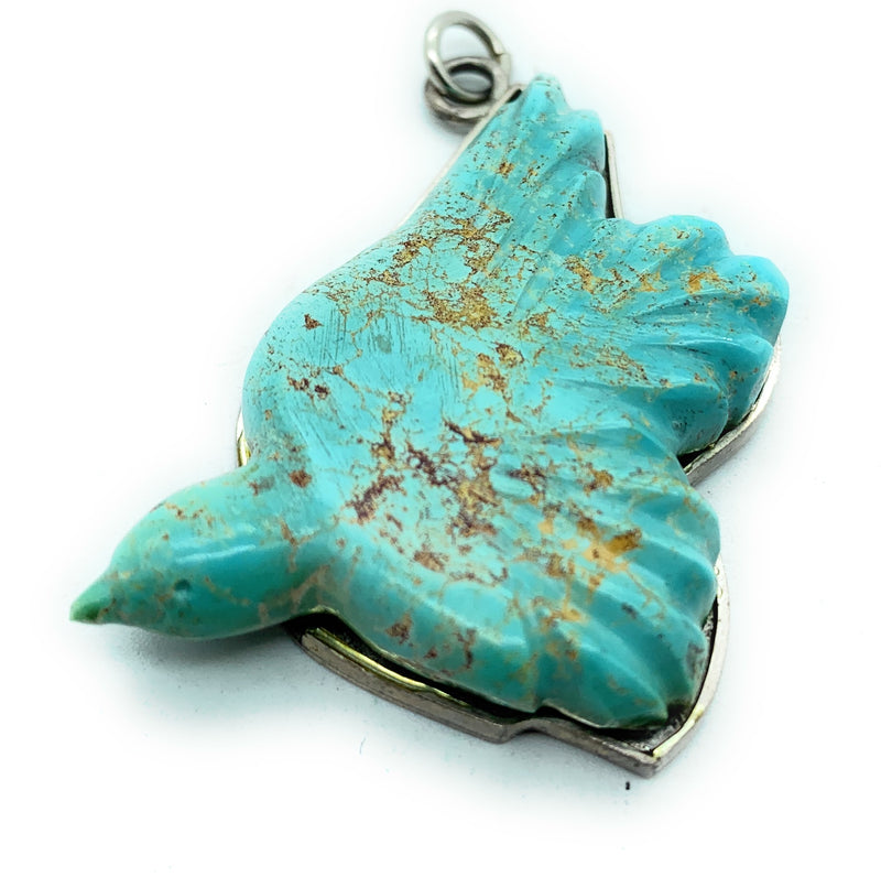 Vintage 1970's Navajo Sterling Silver & Bisbee Turquoise Dove Pendant
