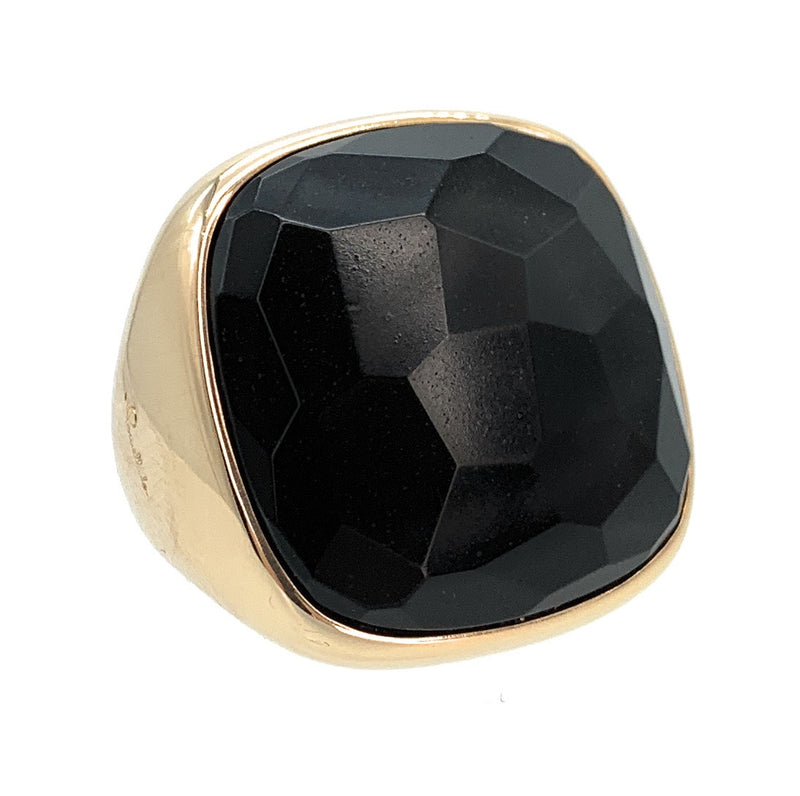 Pomellato 18K Rose Gold Victoria Faceted Onyx Cocktail Ring - Sz. 6.75