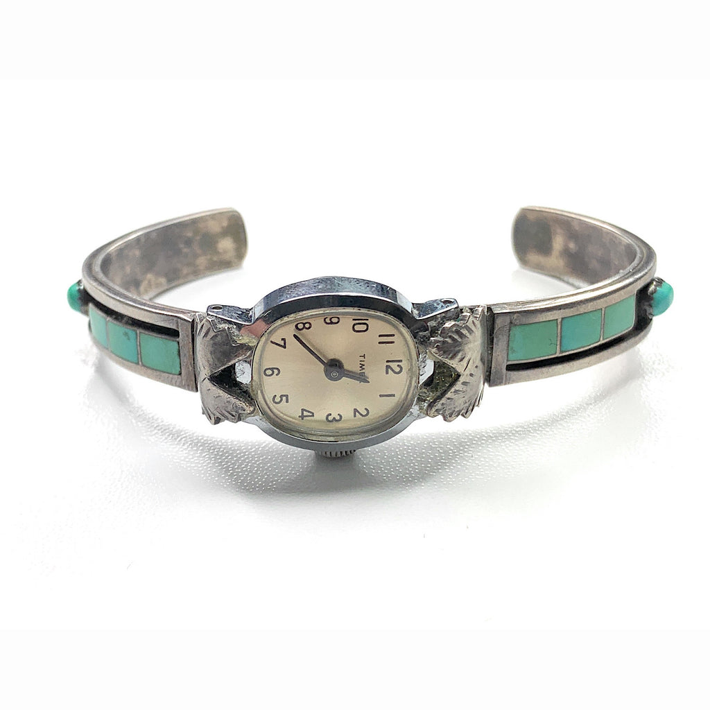 Vintage Navajo Sterling Silver Sleeping Beauty Turquoise Watch Cuff Bracelet