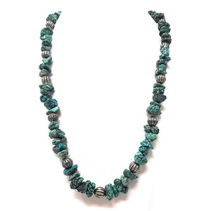 Native American Sea-foam Turquoise and Heishi beaded Necklace 10 1/2""